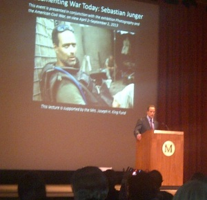 Sebastian Junger speaking at the Metropolitan Museum of Art