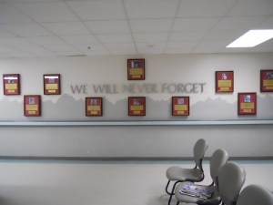 Memorial wall at the Craig Hospital at Bagram Airfield, Afghanistan