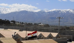 The Egyptian flag flying in their compound at Bagram Airfield, Afghanistan