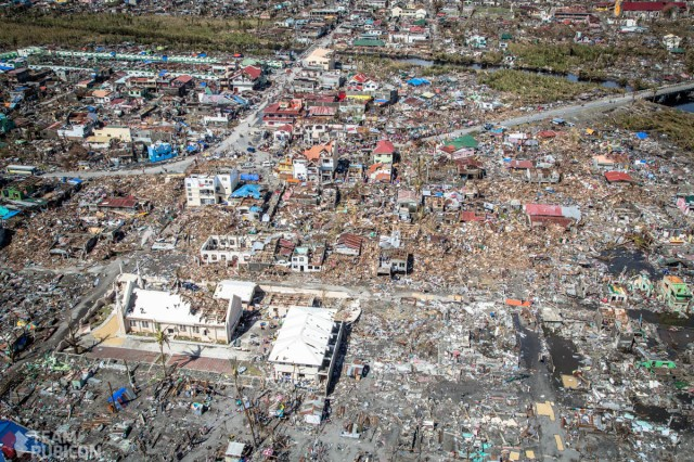 The view by helicopter just south of Tacloban City. Photo by Kirk Jackson, Team Rubicon