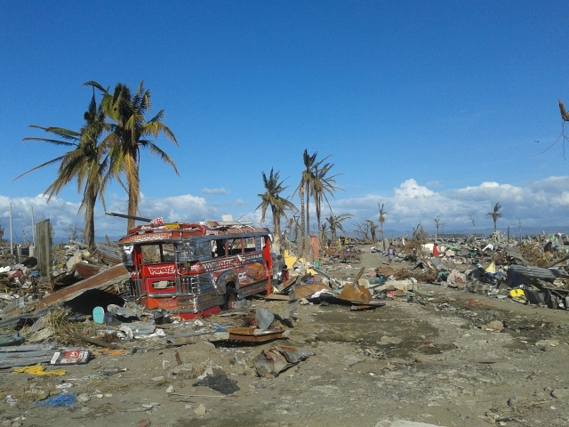 A Tacloban neighborhood completely flattened by storm surge
