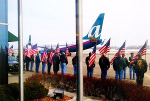 My plane arriving in Albany, New York, bringing many members of my unit home from Afghanistan last year. Patriot Guard members and family stand by to welcome us.