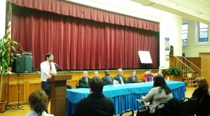 Sen. Daniel Squadron, Sen. Dilan, Assemblyman Lentol, and agency representatives in Greenpoint