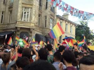 Demonstration for LGBTQ rights on June 22, 2014, on Istiklal Ave in Istanbul.