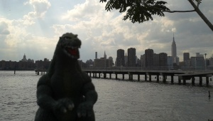 Godzilla met with me at the India Street dock in Greenpoint, Brooklyn.