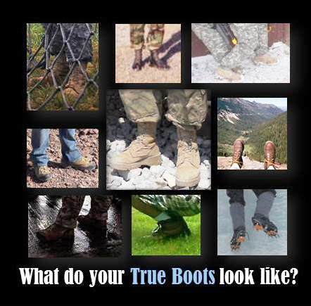 A few of my true boots, starting in lower left corner and going clockwise: on the ground after Typhoon Haiyan at Tacloban Airport in the Philippines in 2013; hiking near Route 66 in Arizona in 2013; rigging sling loads at Fort Lee, Virginia, in 2008; medical logistics training at Camp Parks, California, in 2003; urban operations training in the snow at Camp Atterbury, Indiana, in 2009; admiring the scenery at Mt. Rainier, Washington, in 2002; ice climbing near Leadville, Colorado, in 2013; kneeling to take pictures at the Brooklyn Botanic Garden in 2011. Center photo is my third deployment in Afghanistan in 2012.