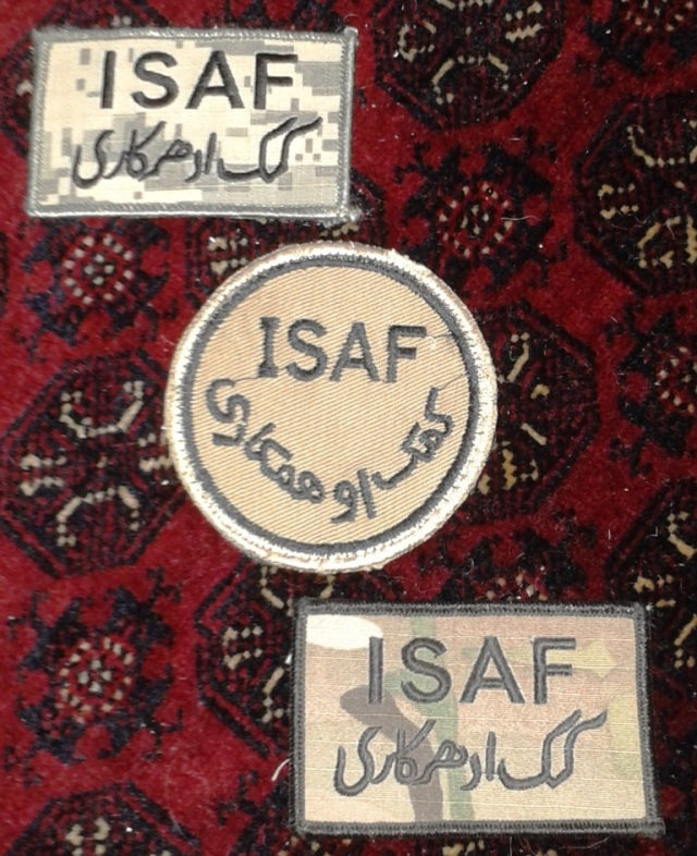 Three tours, three different ISAF patches.