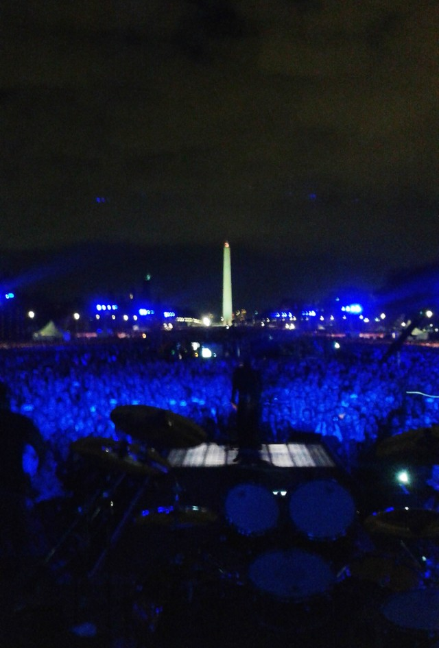 I took a quick pic of the view from on stage before Metallica came on and took their places. Gotta say it was unforgettable to see this many people, mostly veterans, going wild on the Capitol Mall.