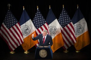 Mayor de Blasio giving his State of the City speech. Photo from the New York Times. http://www.nytimes.com/2015/02/04/nyregion/mayor-bill-de-blasio-state-of-the-city.html?_r=0