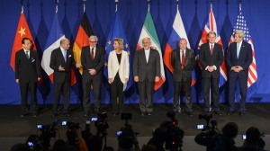 Diplomats from leading world powers announce a preliminary deal on Iran's nuclear program in Lausanne, Switzerland. Image from Reuters, courtesy of the interwebs.